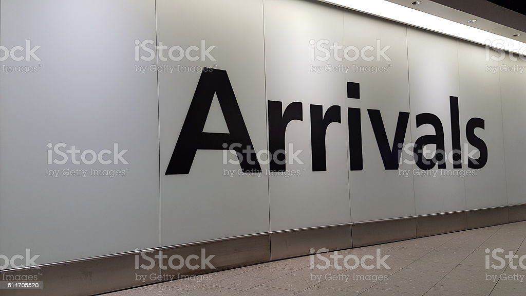 Airport Arrival Sign stock photo