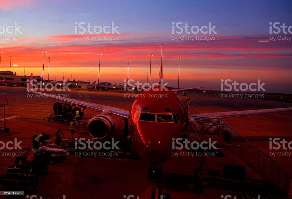 Airport at Sunrise royalty-free stock photo