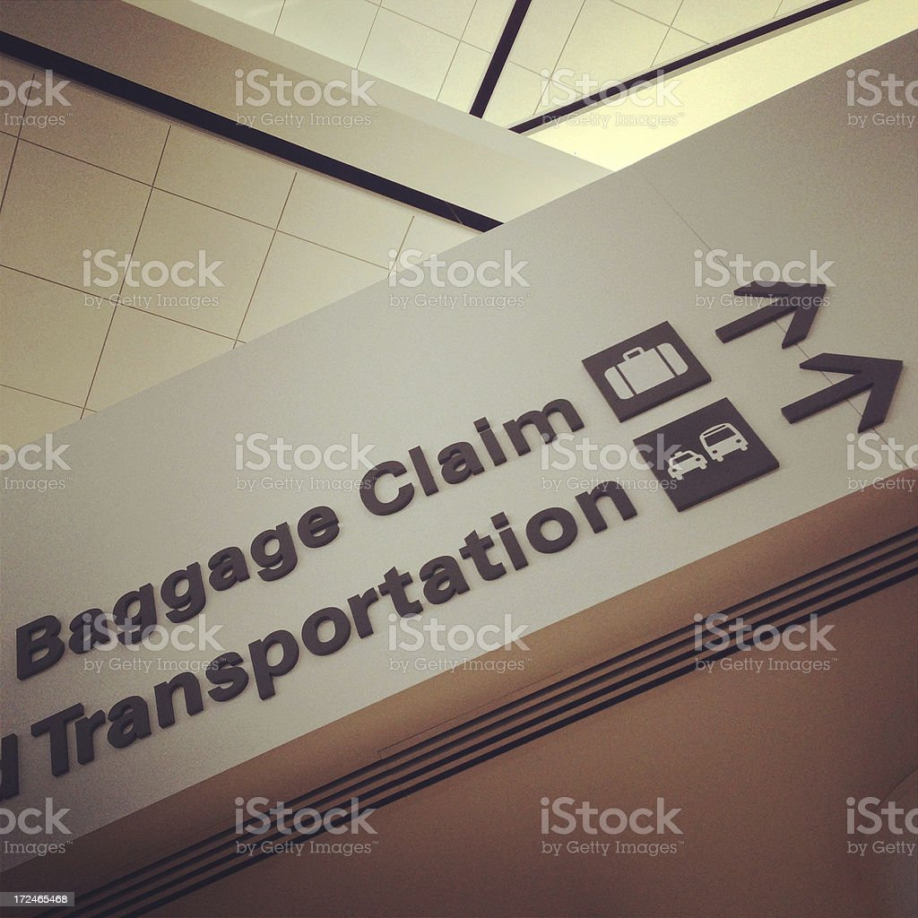 Airport Baggage Claim Directional Sign (Mobilestock) royalty-free stock photo