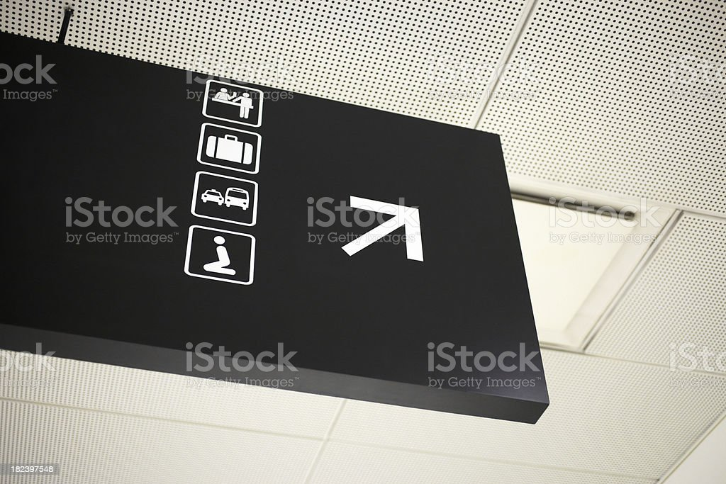 Airport Baggage, Prayer Room, Transportation, and Baby Changing Information Sign stock photo