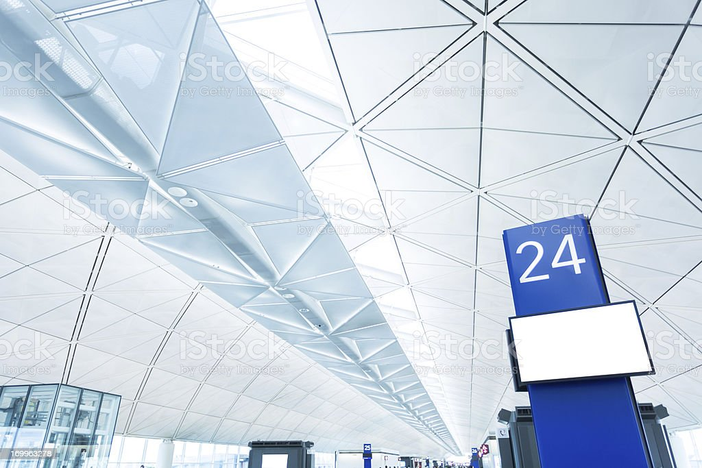 Airport Boarding Gate with Blank Screen stock photo