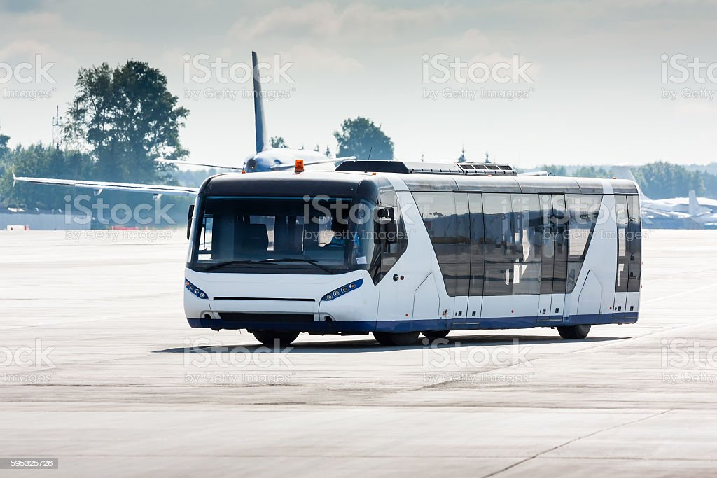 Airport bus on the apron stock photo