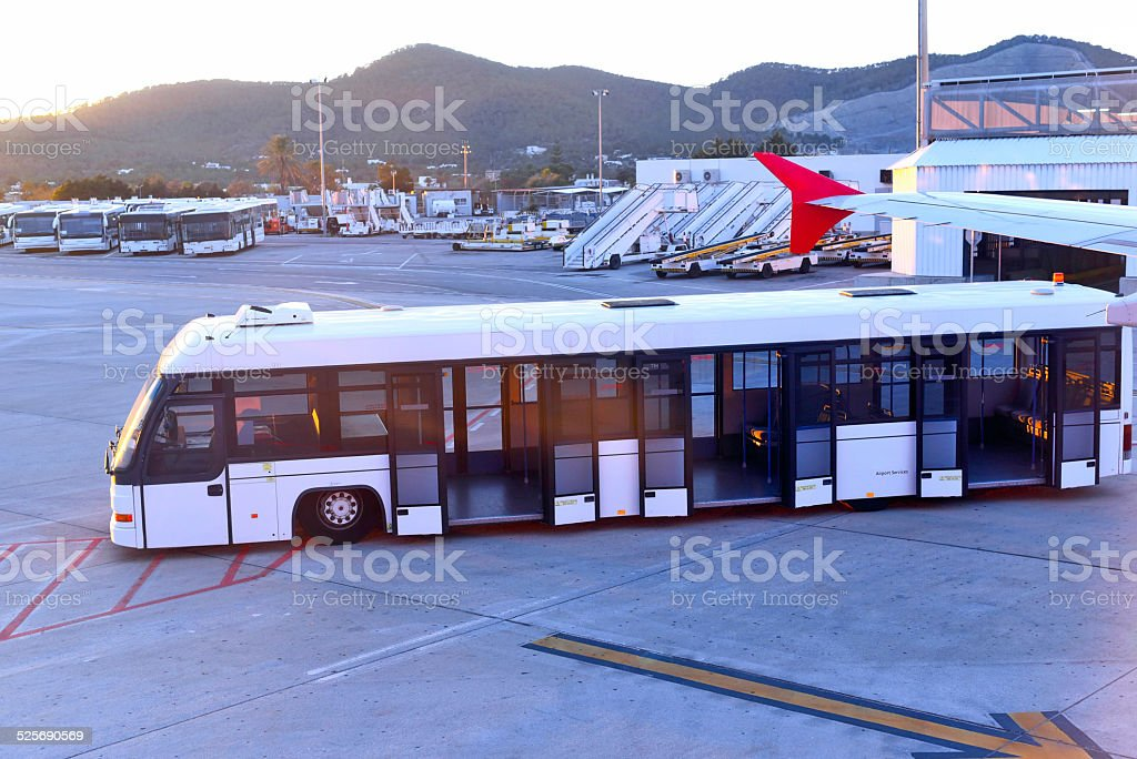 Airport bus stock photo