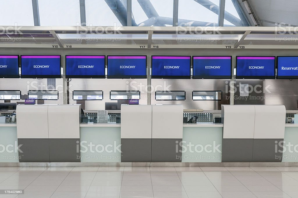 Airport Check In Counters stock photo