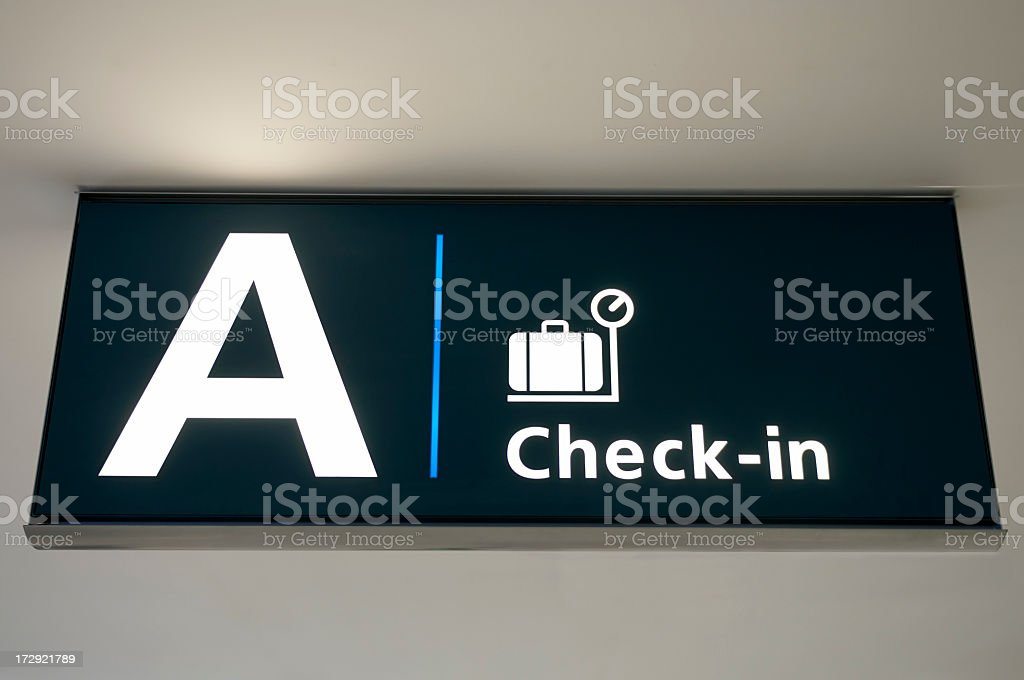 Airport Check In Sign royalty-free stock photo