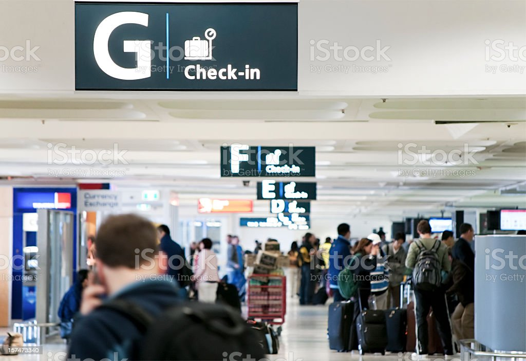 Airport Check-In Area stock photo