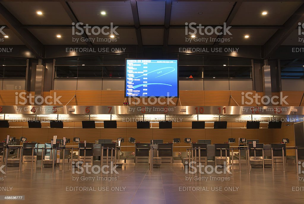 Airport Check-in Counters Terminal royalty-free stock photo