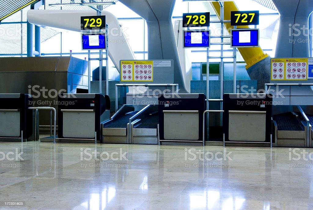 Airport check-in desk stock photo