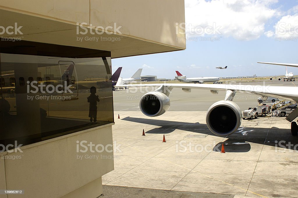 airport child in lounge window royalty-free stock photo