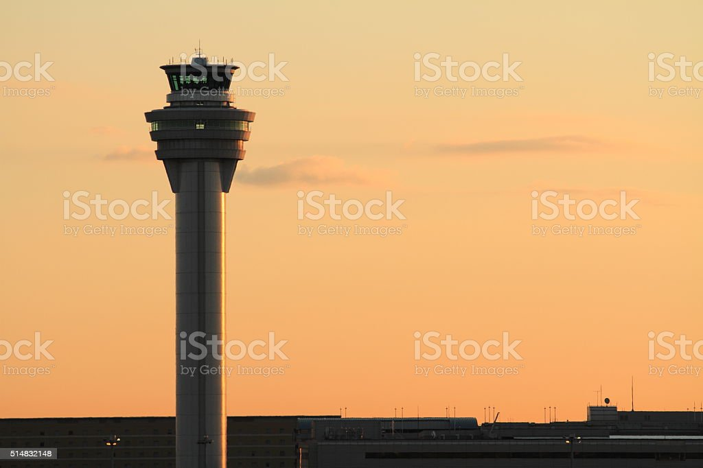 Airport control tower at tokyo international airport (at dawn) stock photo