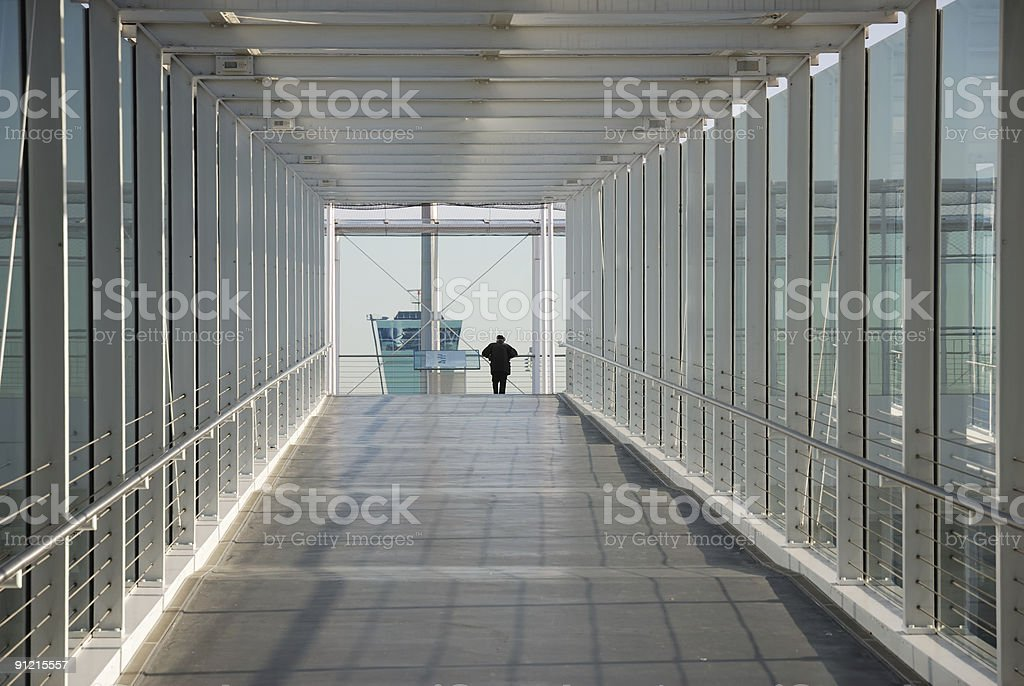 airport corridor with man royalty-free stock photo