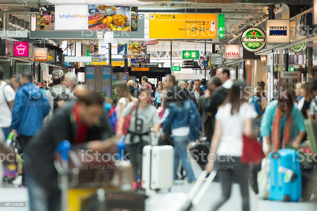Airport crowds in Europe stock photo