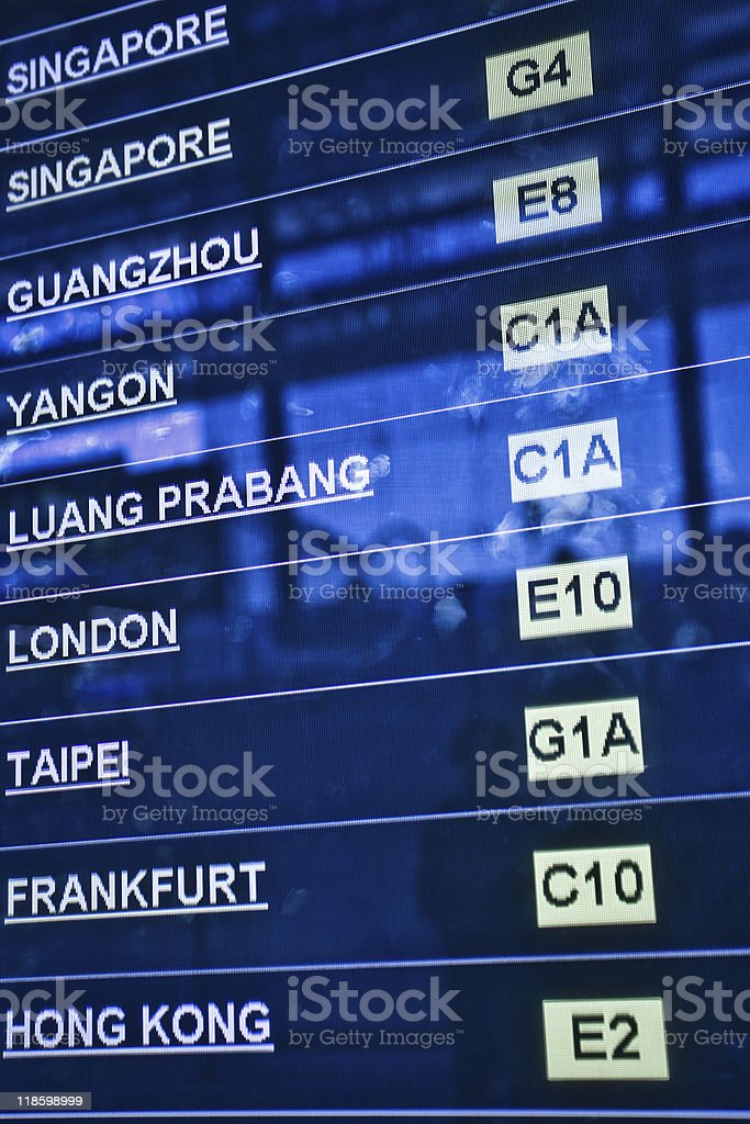 Airport departure board royalty-free stock photo