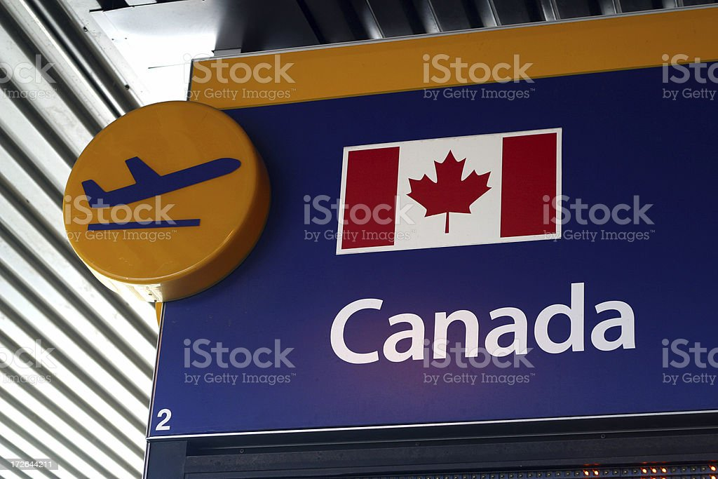 Airport Departure Sign Canada royalty-free stock photo