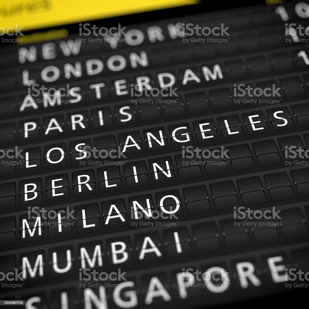 Airport Departure Timetable stock photo