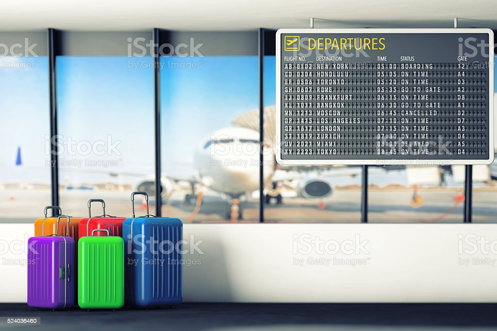 Airport Departures Table with Suitcases. 3d Rendering stock photo
