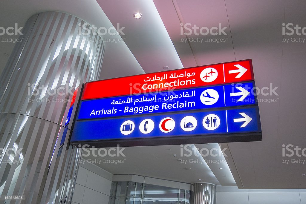 Airport direction sign stock photo