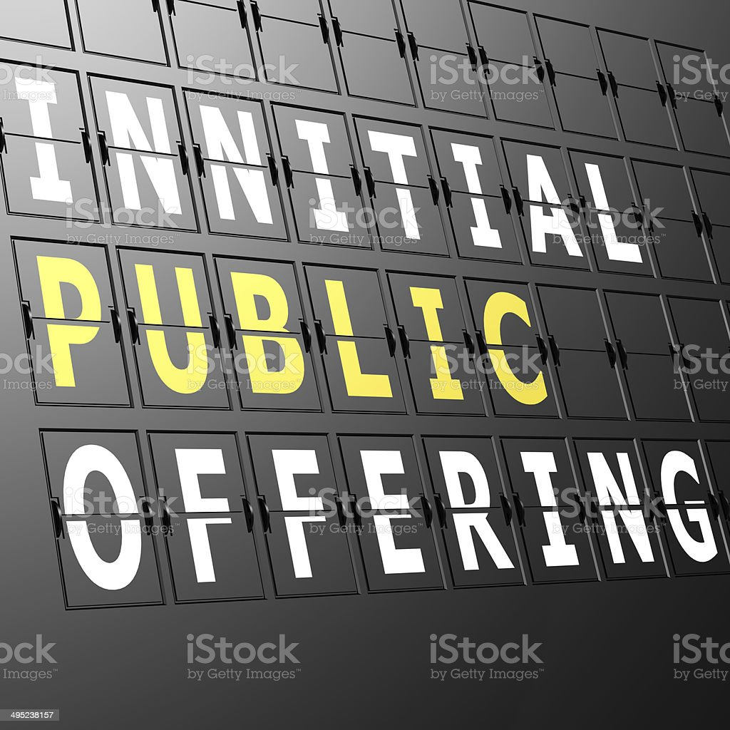 Airport display initial public offering stock photo