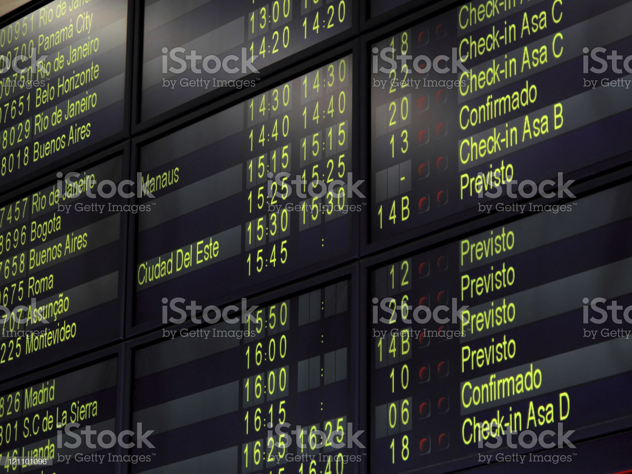 Airport display panel in Brazil royalty-free stock photo