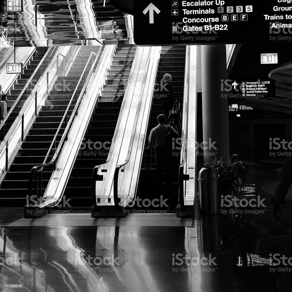 Airport Escalator, Chicago. royalty-free stock photo