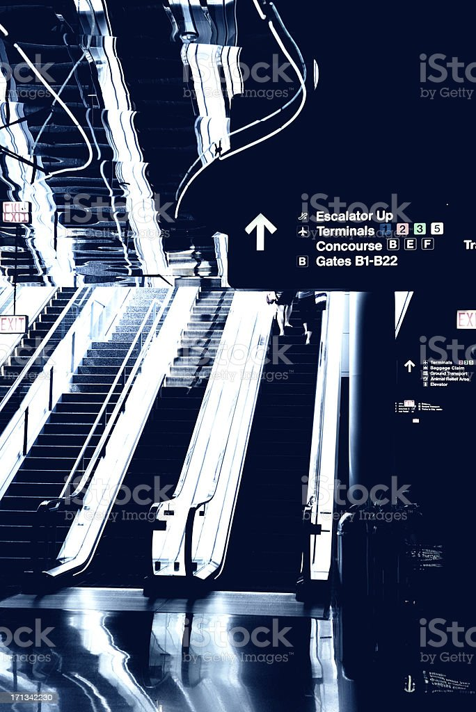 Airport Escalator, Chicago. royalty-free stock photo