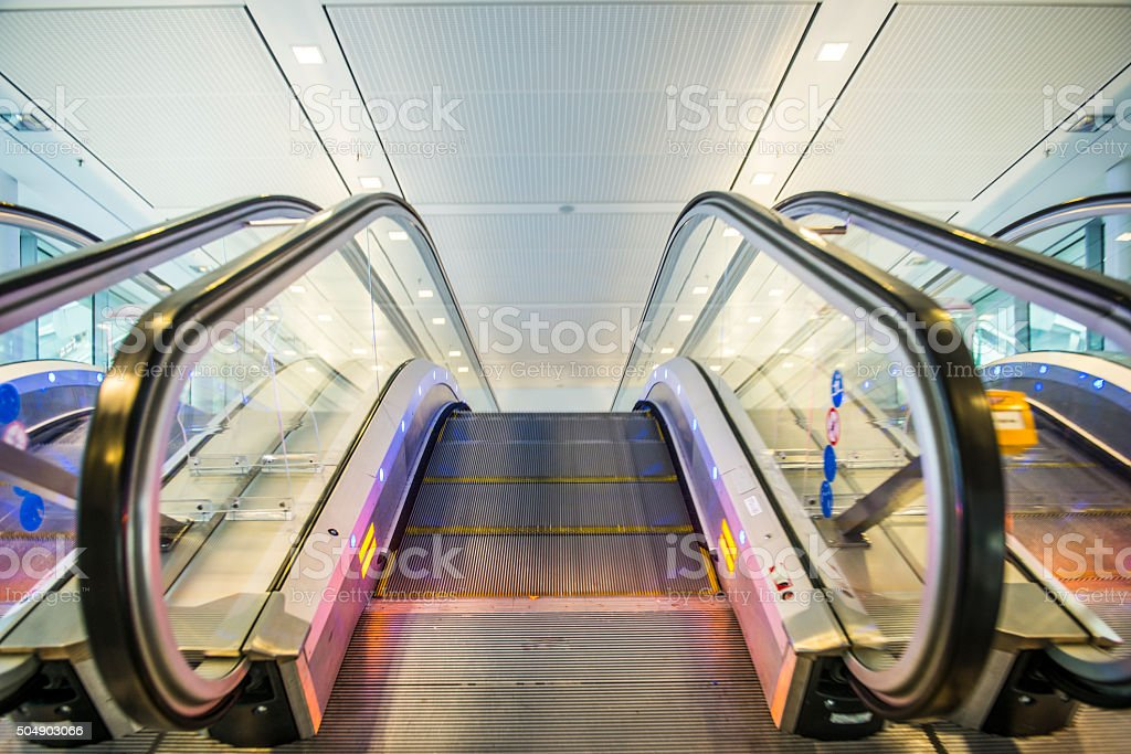 Airport Escalator stock photo