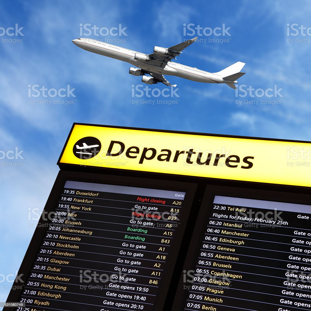 Airport flight information and airplane departing stock photo