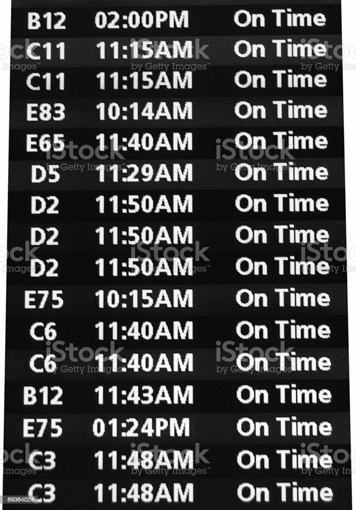 Airport Flight Information Board- Isolated stock photo