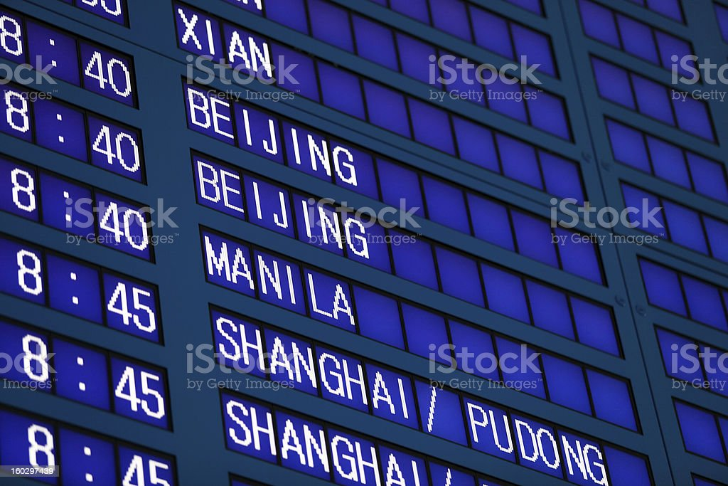 Airport Flight Information Board royalty-free stock photo