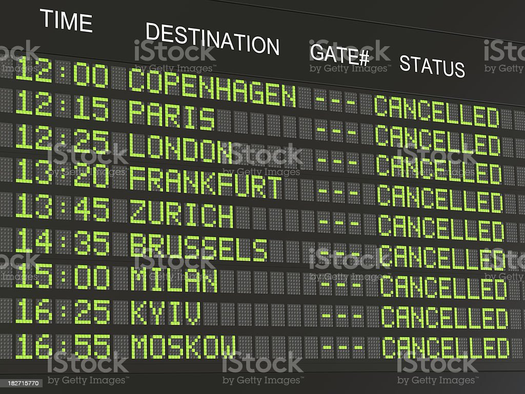 Airport flight information stock photo