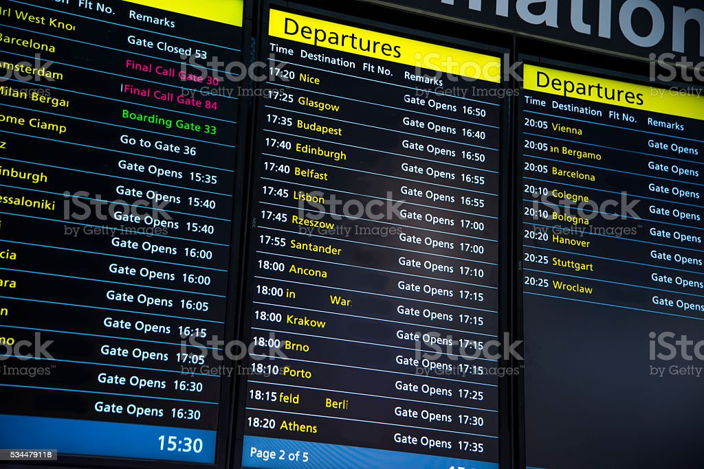 Airport - Flight panels. stock photo