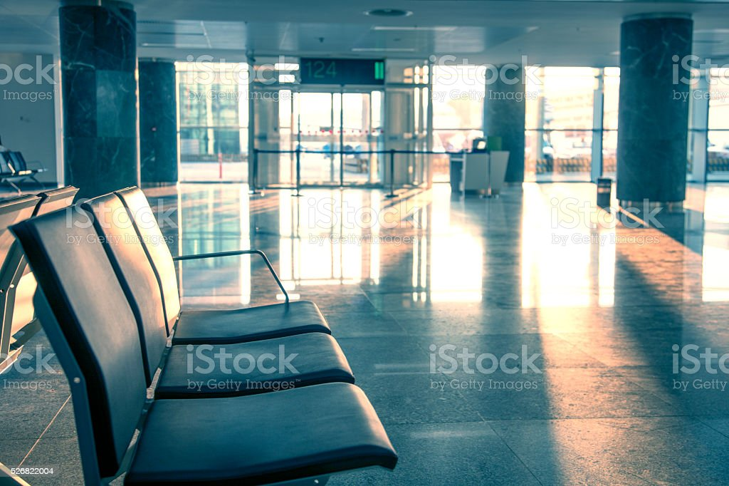 airport gate- waiting seats stock photo