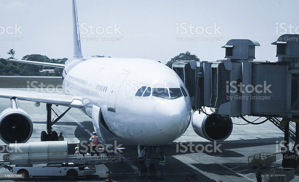 airport ground crew service stock photo