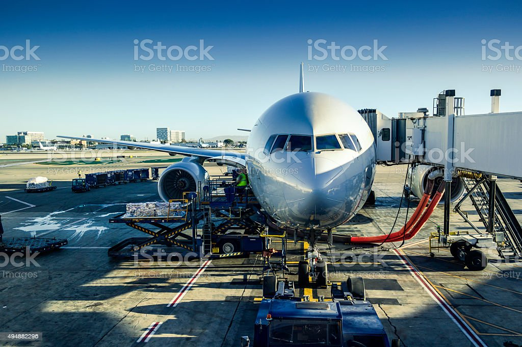Airport ground operation stock photo