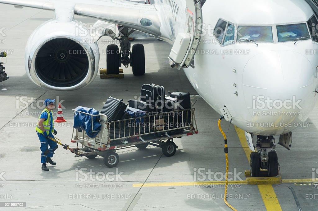Airport ground operation stock photo