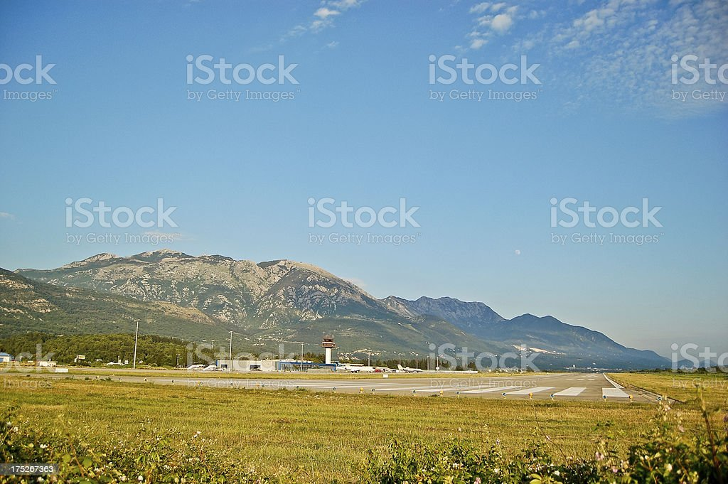 Airport in mountains stock photo