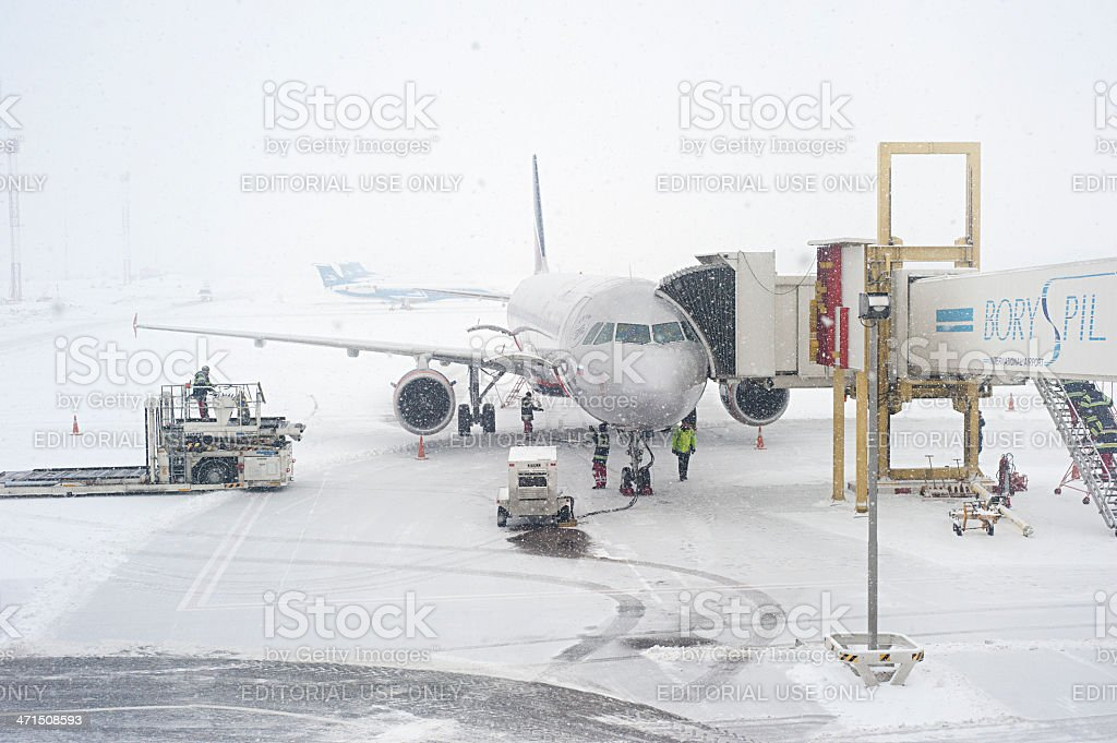 Airport in snawfall royalty-free stock photo