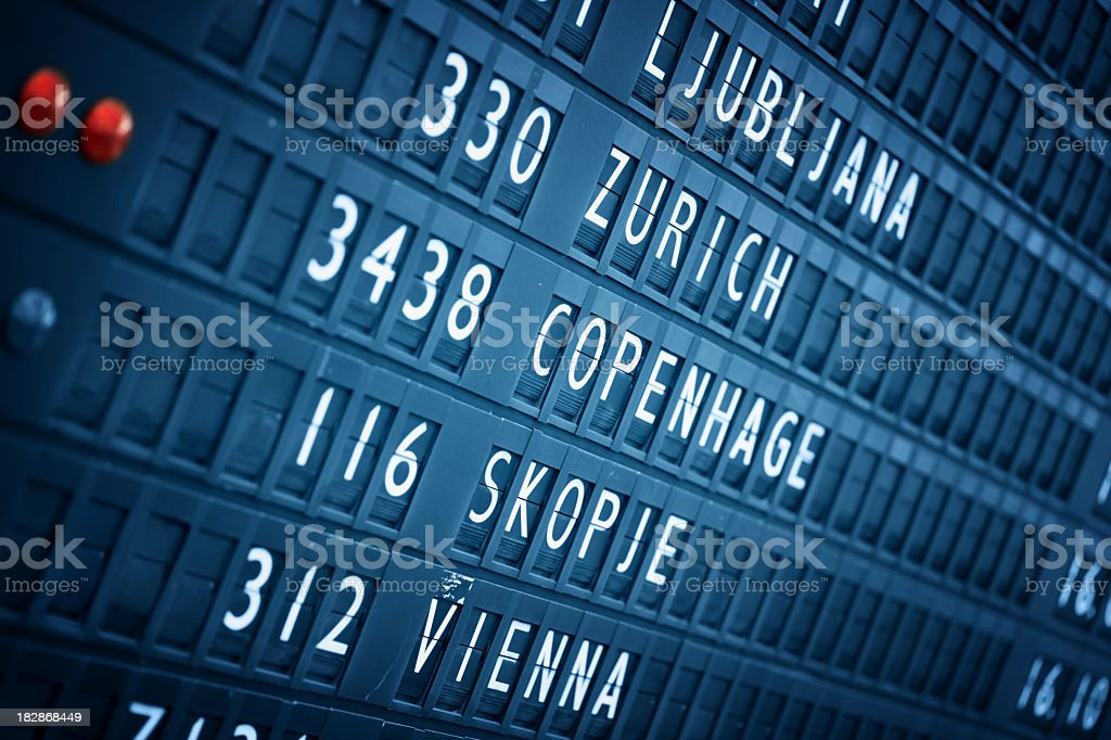 Airport Info Panel royalty-free stock photo