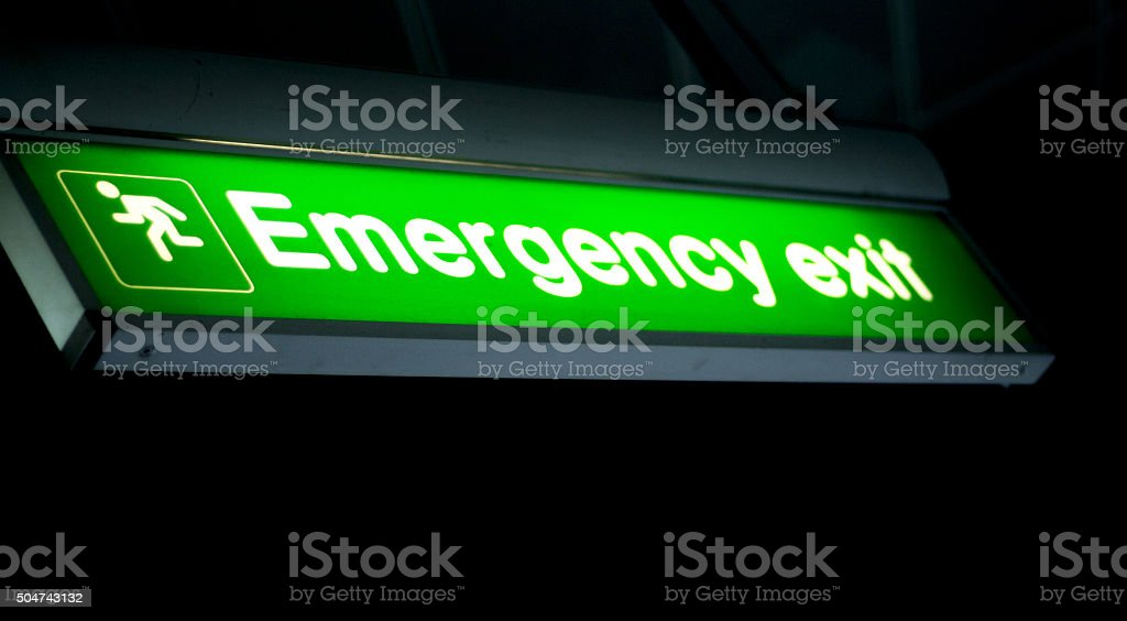Airport information emergency exit sign stock photo