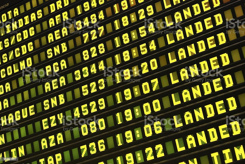 Airport information panel. royalty-free stock photo