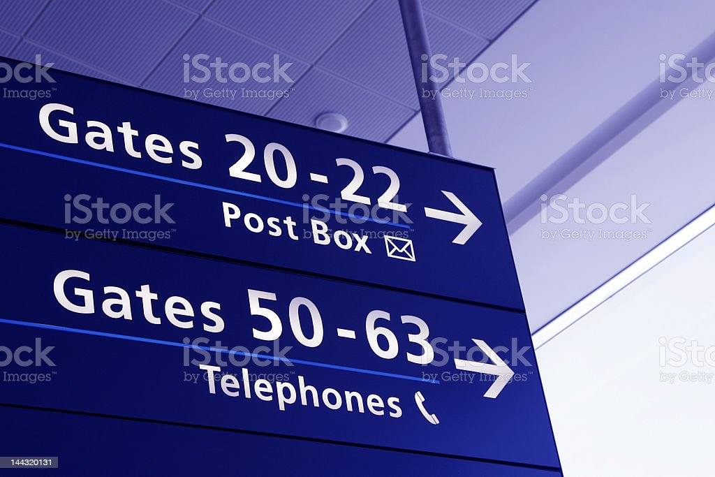 Airport Interior - Directions Sign royalty-free stock photo
