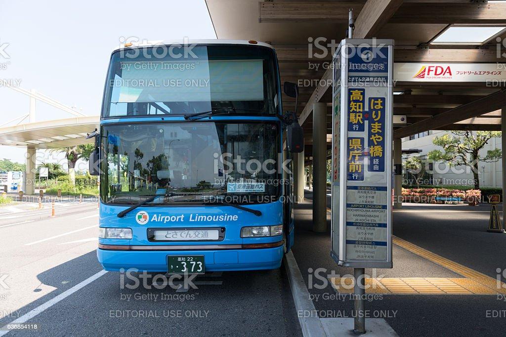 Airport Limousine Bus at Kochi Ryoma Airport, Japan stock photo