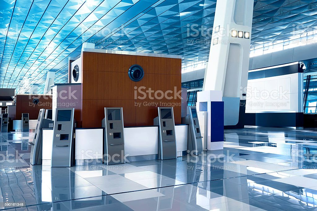 Airport lobby blue roof stock photo