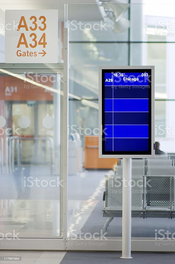 Airport lounge: information board stock photo