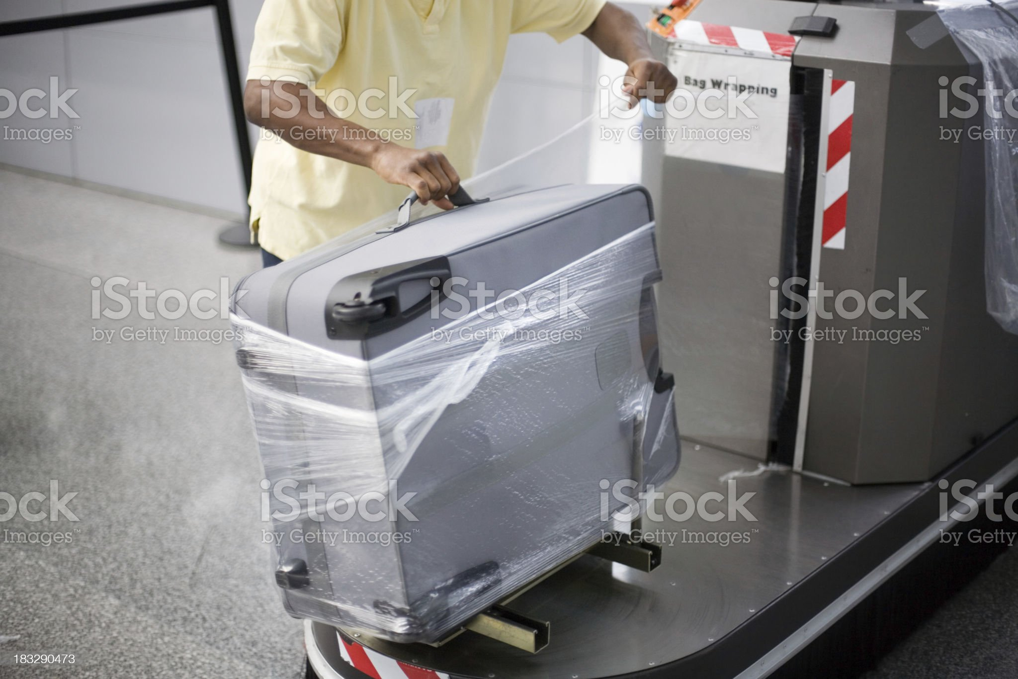 Airport Luggage Wrapping progress royalty-free stock photo