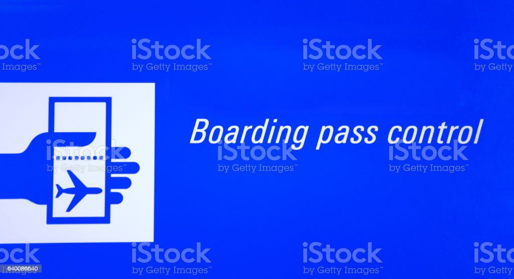 Airport Neon Sign Boarding Pass Control vector art illustration