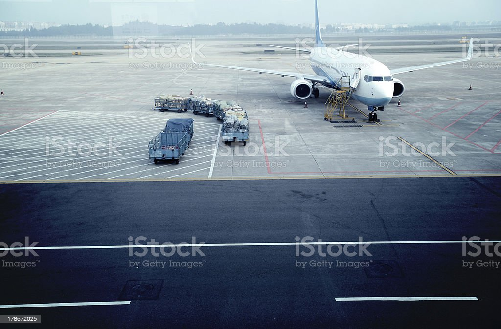 airport outside  window ,waiting for the flight stock photo