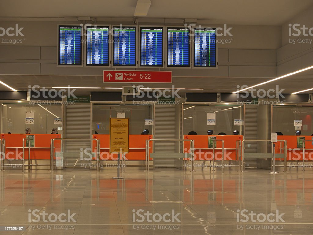 Airport passports immigration control desk stock photo
