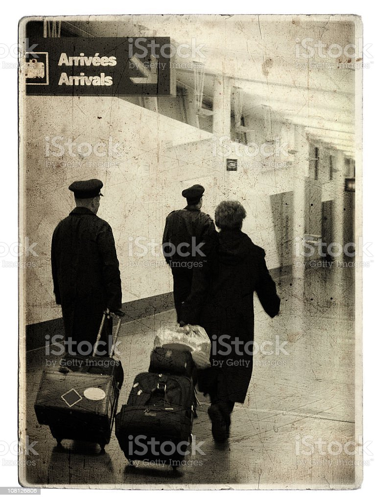 Airport (grunge old card) royalty-free stock photo