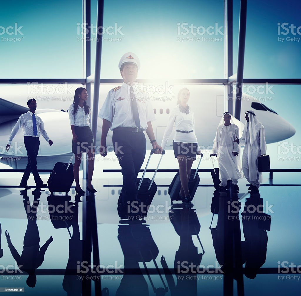 Airport Pilot Cabin Crew Professional Occupation Concept stock photo